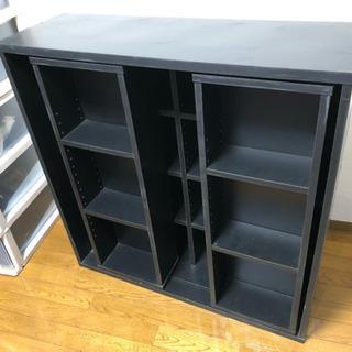 【無料】本棚 スライド式 黒 塗装のはげ、傷あり