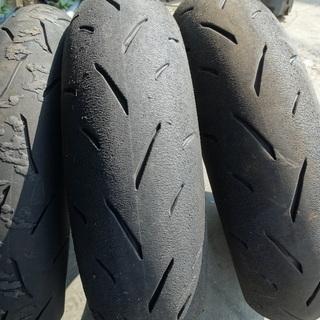 タイヤ中古3本、引き取りのみ、TT93 100/90-12と12...