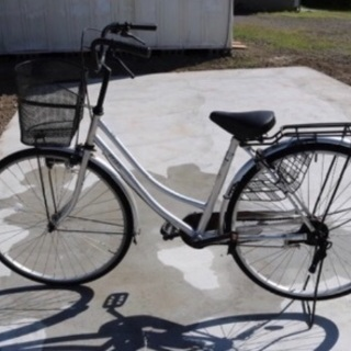 自転車 ママチャリ シルバー 26インチ