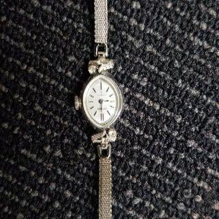 セイコー手巻き腕時計14kホワイトゴールド − 京都府