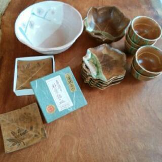 菓子鉢、銘々皿、菓子鉢湯呑みセット