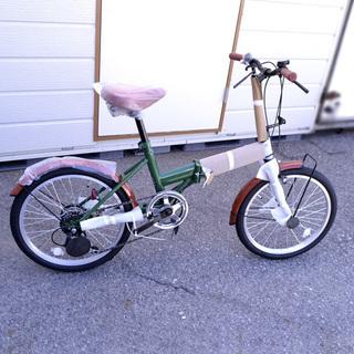 ACE BUDDY 折りたたみ自転車 未使用品 グリーン×ブラウ...