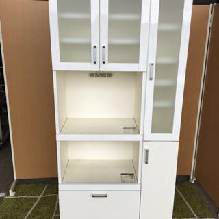 ☆キッチンボード☆ホワイトピアノ塗装☆食器棚☆幅90cm