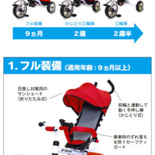 子ども 三輪車 かじ取り ベビーカー お引き取りお願いします!
