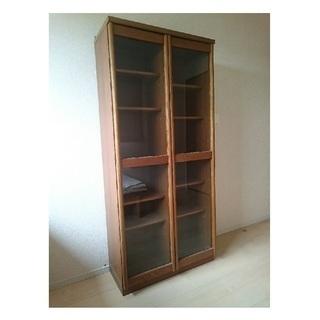 飾り棚 ガラス扉 81×37×176cm キャビネット 本棚