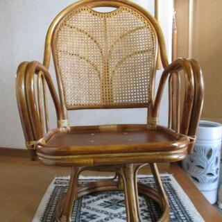 回転椅子 ひじあて付き(籐製)2脚