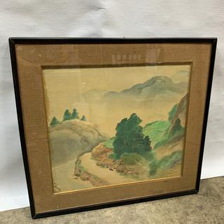 水彩画 日本 額縁付き 幅 68cm 高さ64cm 絵画 …