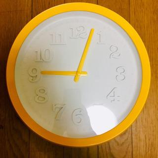 壁掛け時計/黄色(オレンジ寄り)/起動可能