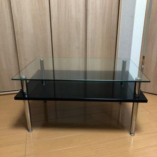 リビングセンターテーブル ガラストップ ブラック