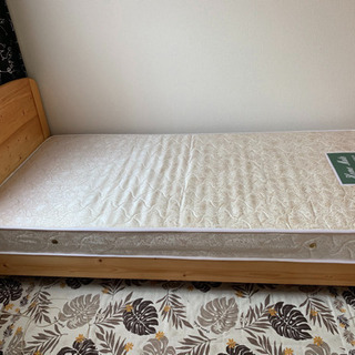 高さ調節2段階シングルベッドマットレス付き
