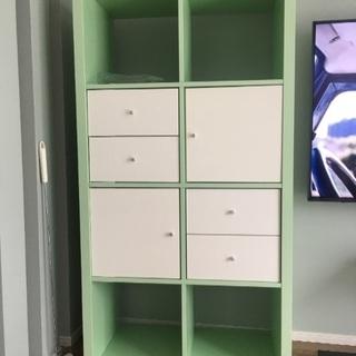 IKEA カラックス引き出し・収納付 棚 カラーボックス グリーン