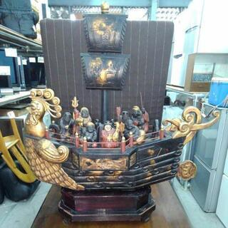 宝船 七福神 木彫り 全長約110㎝ 高さ約113㎝ アンティー...