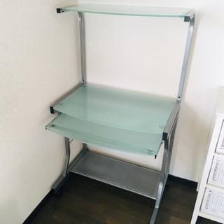 ガラス製 パソコンデスク 省スペース PCデスク