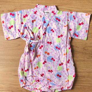 浴衣 甚平 ロンパース 70サイズ 女の子 ピンク 赤 金魚