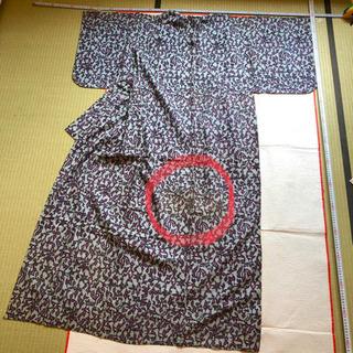 昭和アンティーク着物10☆女物小紋(単 グレーに紫の唐草模様)洋服生地