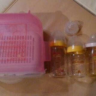 ピジョン 哺乳瓶3本+消毒ケース