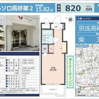 京成高砂,投資物件、表面利回り7.7%.実質利回り6.4%. (⑥)