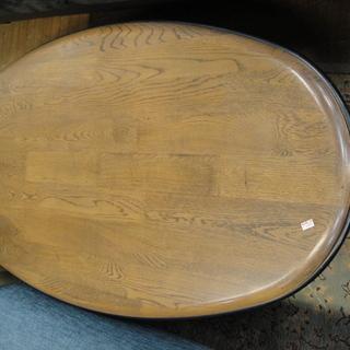 ウサミ木工(帯広)天然木楕円センターテーブル ローテーブル 座卓