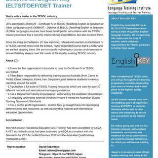 TESOL・オーストラリア政府に認定されているトレーニングプログ...