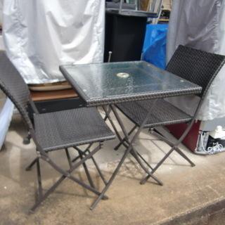 ガーディンング テーブルとイス セット 中古