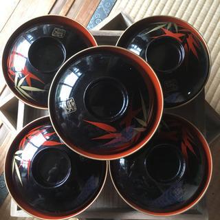 漆器 5枚セット 竹模様