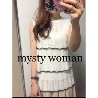 ☆mysty woman☆透かし編みスカラップノースリニット