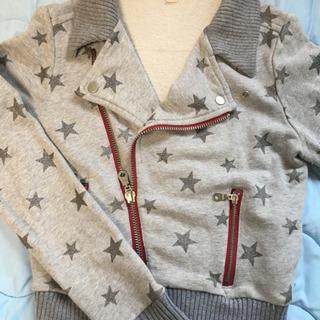 ●[古着]コットン ライダースジャケット。綿100% ニットと組...