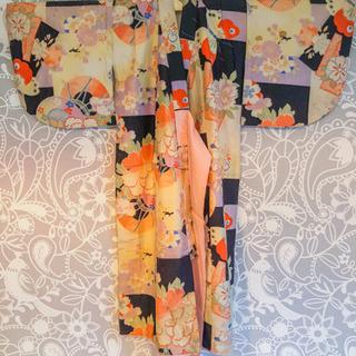 【難あり】アンティーク着物☆女児用3/5 小紋(袷 牡丹や桜の古典柄)