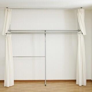 突っ張り式カーテン付き伸縮クローゼットハンガー