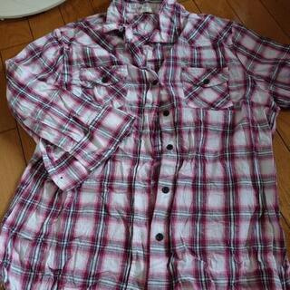 チェックシャツ 五分袖 LL