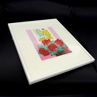 額装 版画 吉岡浩太郎「赤いバラ」 A.P 札幌市手稲区