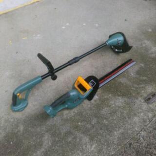 難あり 充電式 草刈り機 ヘッジトリマー 2台セット
