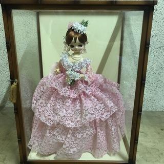 フランス人形 昭和レトロ ガラスケース付 幅40cm×奥行36cm...
