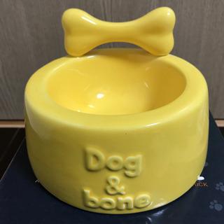 ドッグフードボウル DOG&BONE セラミック エサ皿 イエロー