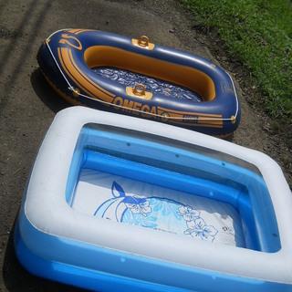 子供用プールとゴムボート エアプール