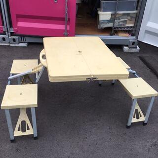 キャンプ 野外 庭 簡単 設置 テーブル イス 一体型