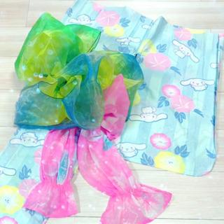 女の子用 子供用 浴衣 シナモンロール 兵児帯(2枚) セット