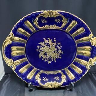 イタリア製♦陶磁器♦大皿♦リモージュ?♦ブルー (青)♦アンティ...