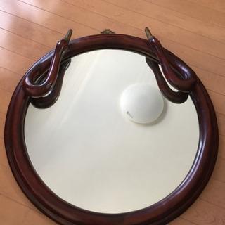 アンティーク丸鏡 壁掛け鏡 白鳥 木彫 大型