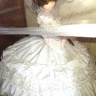 【中古】 リボン人形 スキヨ人形研究所 フランス人形 純白のドレス