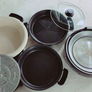 鍋・焼肉鉄板・蒸し器セット