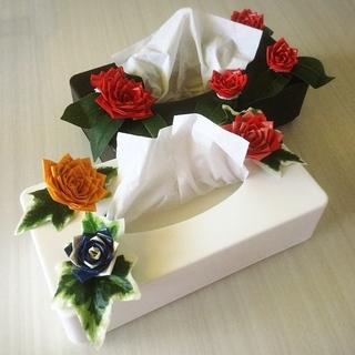 夏休みの工作にぴったり!!ガムテープで作る薔薇デコティッシュケース製作