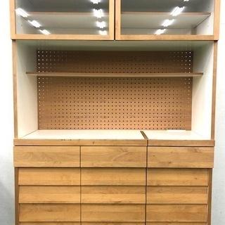 食器棚 キッチンボード 木製 ブラウン 大容量 上下二分割可能 ...