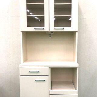食器棚 キッチン棚 ホワイト 2枚扉 上下二分割可能 高さ207cm