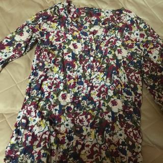 綿&シルクの襟ぐり切りっぱなしチュニック五分袖LL