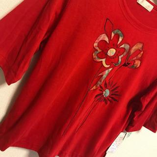 半袖 tシャツ 赤 花柄 春夏 インナー トップス 11号 L ...