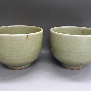 抹茶茶碗 青磁風 2個セット