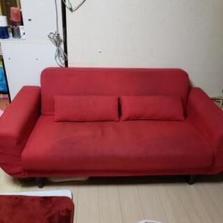 赤色3人掛けソファー