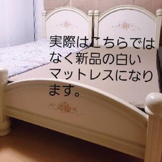 値下げ◆シングルベッド◆ 2台 シャビーシック調 マットレスは未使用品