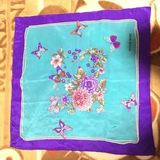 HANAE MORI モリハナエ 蝶&花デザイン シルクスカーフ